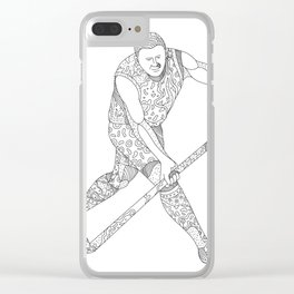 Field Hockey Player Doodle Clear iPhone Case