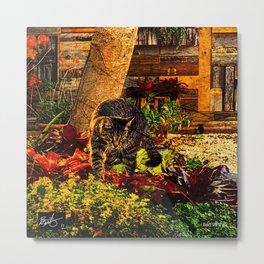 Kitty Garden Metal Print