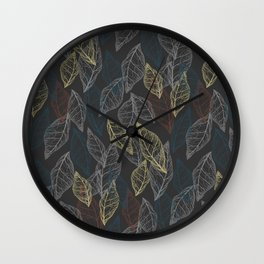 Dryed leaves, leaves silhouettes. Skeleton colored leaves. Autumn illustration. Lines on dark background. Wall Clock