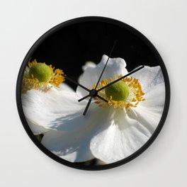 White on Black - Anemone Flowers Wall Clock