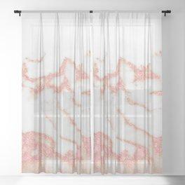 Rose Gold White Marble VI Sheer Curtain