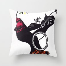 African Portrait Throw Pillow