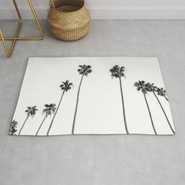 Black + White Palms Rug