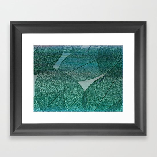 painterly green and blue leaf abstract framed art print by. Black Bedroom Furniture Sets. Home Design Ideas