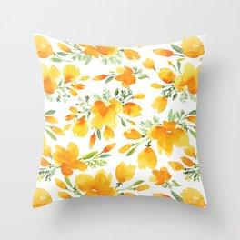 Watercolor california poppies bouquet Throw Pillow