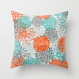 Orange and Teal Floral Abstract Print Throw Pillow