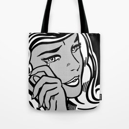 Crying-Girl02 B&W Tote Bag