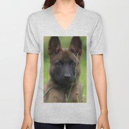 Cute Puppy Shepherd Face Unisex V-Neck