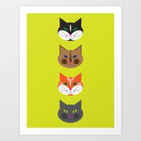 4 Cool Cats (lime) Art Print