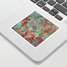 Abstract Rust on Turquoise Painting Sticker