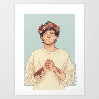 coconutwishes Art Prints featuring Tommo Flower crown by Coconut Wishes