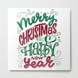 Merry Christmas and Happy New Year Typography Metal Print