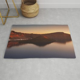 Sunrise over Wizard Island and Crater Lake. Rug