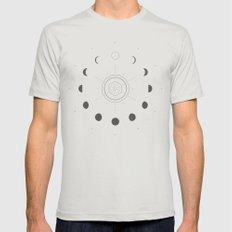 Moon Phases Light X-LARGE Mens Fitted Tee Silver
