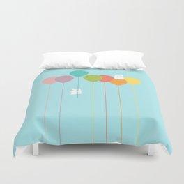 Fluffy bunnies and the rainbow balloons Duvet Cover