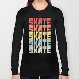 Retro 70s SKATE Text Long Sleeve T-shirt
