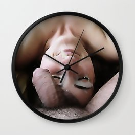 NSFW! Adult content! Cartoon sex play, cummy face, happy face in color Wall Clock