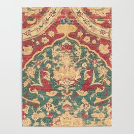 Peonies Kashan II // 16th Century Distressed Colorful Red Tan Light Blue Ornate Accent Rug Pattern Poster