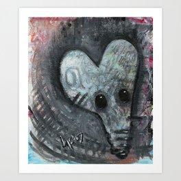 Curious abstract rat Art Print