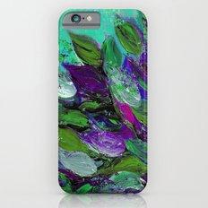 BLOOMING BEAUTIFUL 1 - Floral Painting Mint Green Seafoam Purple White Leaves Petals Summer Flowers iPhone 6s Slim Case