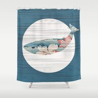 polka Shower Curtains featuring Whales and Polka Dots by Paula Belle Flores