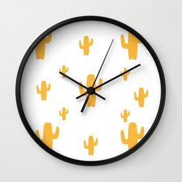 Mustard Cactus Pattern Wall Clock