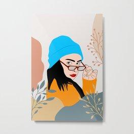 Beautiful Face with Sunglass #illustration Metal Print