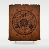 the legend of zelda Shower Curtains featuring The Legend Of Zelda by Electra