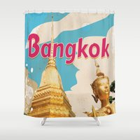 travel poster Shower Curtains featuring Bangkok Vintage Travel Poster by Nick's Emporium Gallery