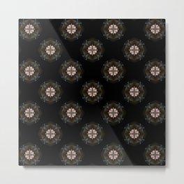 Beige Cross Flower Pattern Metal Print