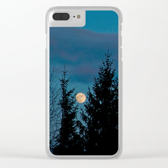 Full moon in the firs Clear iPhone Case