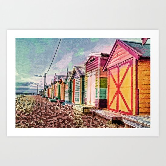Painted Beach Huts Art Print