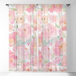 Watercolor Peonies Summer Bouquet Sheer Curtain