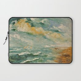 Naples Rough sea a print of a a 12x16 inches oil on canvas painting of Italian painter Alfonso Palma Laptop Sleeve