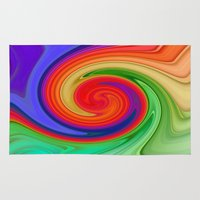 ying yang Area & Throw Rugs featuring Ying Yang Rainbow Swirl Background by taiche