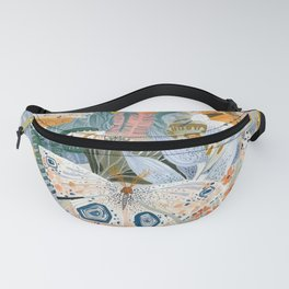Spring butterfly above flowers Fanny Pack