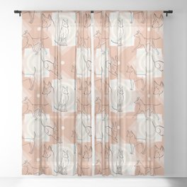 Thai Ridgeback Pattern in Light Terracotta Sheer Curtain