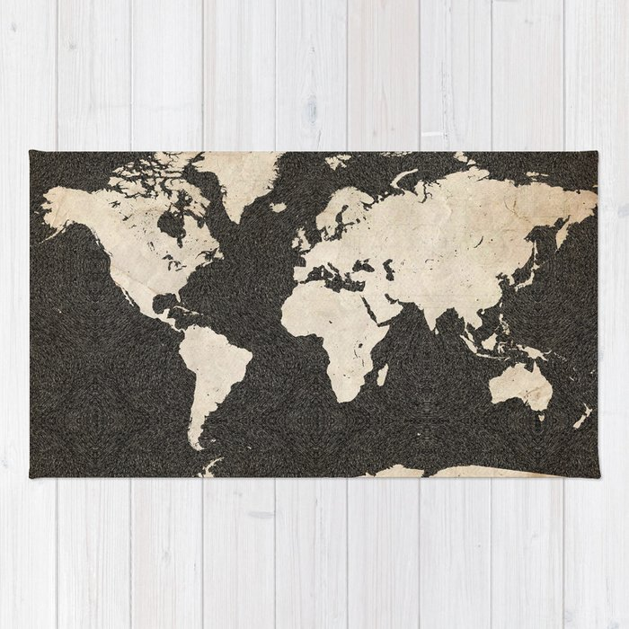 World map ink lines rug by mapsmapsmaps society6 world map ink lines rug gumiabroncs Gallery