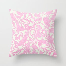 Shabby Chic pink damask Throw Pillow