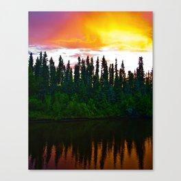 Summer Sun Almost Sets in Alaska Canvas Print
