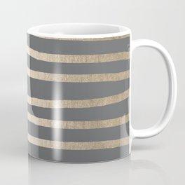 Simply Drawn Stripes White Gold Sands on Storm Gray Coffee Mug