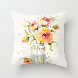 A Jar Of Joy (flowers) Throw Pillow