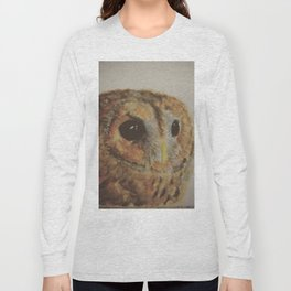Watercolor Tawny Owl Painting Long Sleeve T-shirt