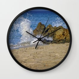 Frothy Spray on Rocks Wall Clock
