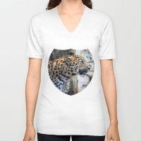 jaguar V-neck T-shirts featuring Jaguar by Veronika