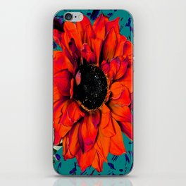 Orange Sunflower & Teal Contemporary Abstract iPhone Skin