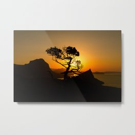 Sunrise in mountains with tree and sea Metal Print