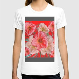 GREY-RED  PINK & CREAM DAYLILIES FLORAL T-shirt