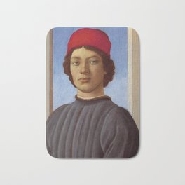 """Sandro Botticelli """"Portrait of a young man with red hat"""" Bath Mat"""