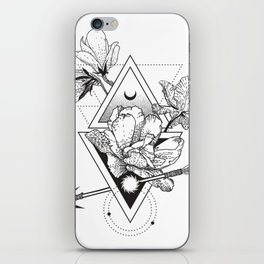Alchemy symbol with moon and flowers iPhone Skin
